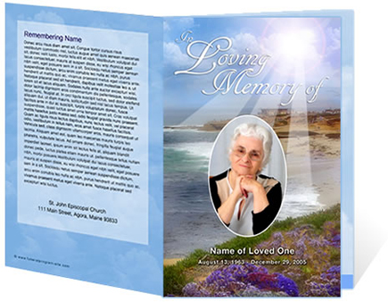 funeral program template with a beautiful beach scene the funeral ...