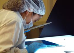 Worker Inspects Touch Screen at Austin, TX Headquarters Facility