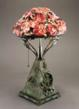 Pairpoint lamp base with no. 601 Azaleas Shade by Mt. Washington, 1900– 1903