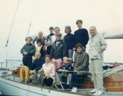Spruce Point Inn guests at the dock including members of the Kennedy clan, astronaut John Glenn and Andy Williams.