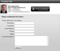 Sample of IXACT Contact Website Lead Capture Form