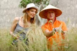 guy bedarida and angela lindvall harvesting rice