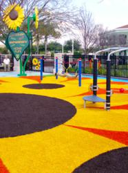 Playground Grass by ForeverLawn provides a safe play surface at Sunflower Preschool Playground.