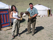 Host Cliff Tulpa and videographer Marina Orden with Altay Argali horns