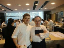 Chef Warhol from the Athenaeum Hotel and Chautauqua in June instructor with culinary mentor Ferran Adria from Roses, Spain.