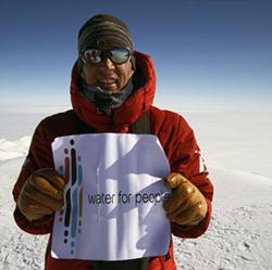 Jake Norton at the summit of Mt. Vinson in Antarctica in January 2011