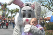 Easter Bunny visits with guest at 2nd Annual Family Funtacular at Tri City Shopping Center in Redlands, California