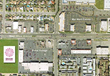 Aerial photograph of Shaw Village Shopping Center, situated along West Shaw Avenue in the greater Fresno area of California's Central Valley