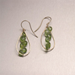 Hammered 14K Gold Earrings with Peridot