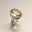 Hammered Sterling Silver Cocktail Ring - Citrine