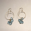 Hammered 14K Gold Earrings with Blue Topaz