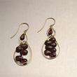 Hammered 14K Gold Earrings with Garnets