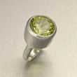 Hammered Sterling Silver Cocktail Ring - Green Quartz