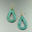 Green-Blue Patinated Brass Earrings