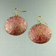 Red Patinated Copper Earrings