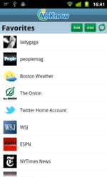 Picture of the VoKnow mobile audio news app for Android showing the Favorite News Sources Selection screen.