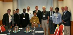 Members of the international committee for the develop of the Global Guidelines for Practical Toilet Design during a meeting at the World Toilet OrganizationⳠWorld Toilet Summit & Expo in Singapore in December, 2009.