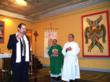 The artist Guillermo Esparza, Msgr. Donald Sakano, Rev. Carlos Mullins, St. Patrick's Old Cathdral, Holy Name Chapel, New York