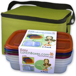 3-compartment food containers and vinyl-free lunch bags from www.easylunchboxes.com