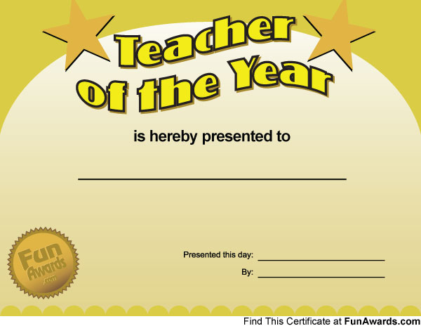 funny awards. Funny Teacher Awards Printable