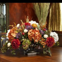 Fall Mixed Silk Hydrangea Centerpiece from SilkFlowers.com