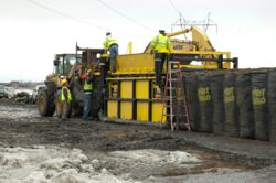 TrapBag® cellular containment barriers' guide-rail installation system in Fargo, N.D.