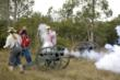 Reenactors use real gun powder for a realistic effect.