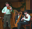 Fiddler Paul Woodiel and uilleann piper Christopher Layer perform a duet at the 2009 edition of the Pipes of Christmas. The beloved Celtic concert returns to the NY metropolitan area on Dec. 19 and 20