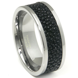 Elegance With An Edge Black Stingray Leather Tungsten Carbide Men S Rings Unveiled By Titanium Kay Jewelers