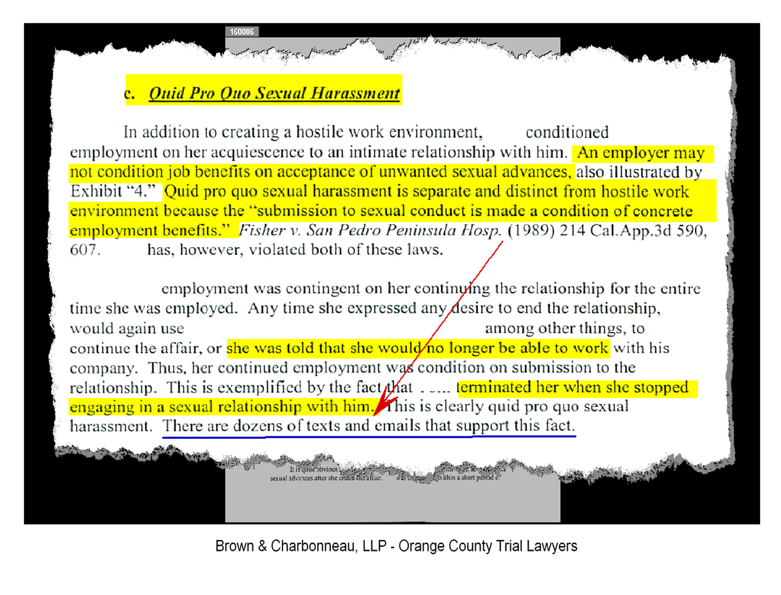 Irvine trial lawyer gregory g brown obtains six figure for Sexual harassment letter template