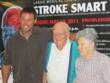 Former Tampa Bay Buccaneer Mike Alstott joins Dr. and Mrs. Snider at the Largo Medical Center Indian Rocks Road Campus for a surprise 100th Birthday Party to kick-off the 100th Birthday Card Tribute Program.