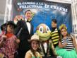"Francisco Sanz Polo, first grandson of ""Cri Cri"" creator pictured with characters from the ""Cri Cri"" Festival for Mexico's Children's Day"