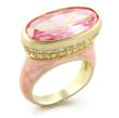 The stunning 8 Carat Oval Pink CZ Gold Tone Cocktail Ring (34112 Jewelry) is available for $30.35.
