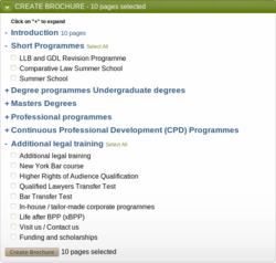 Binder user interface for BPP's law brochure