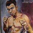 Image of former painting by Quigley; Cassius Clay; Muhammad Ali.