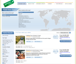 New way to browse tour packages on Go Ahead Tours