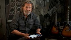 Jeff Bridges demos guitar lesson by Jackson Browne for On the Music Path iPad app