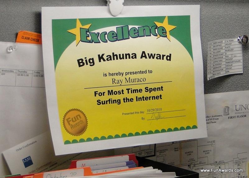 Employee Funny Office Awards Ideas