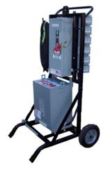 Explosion proof portable power distribution unit for hazardous locations.