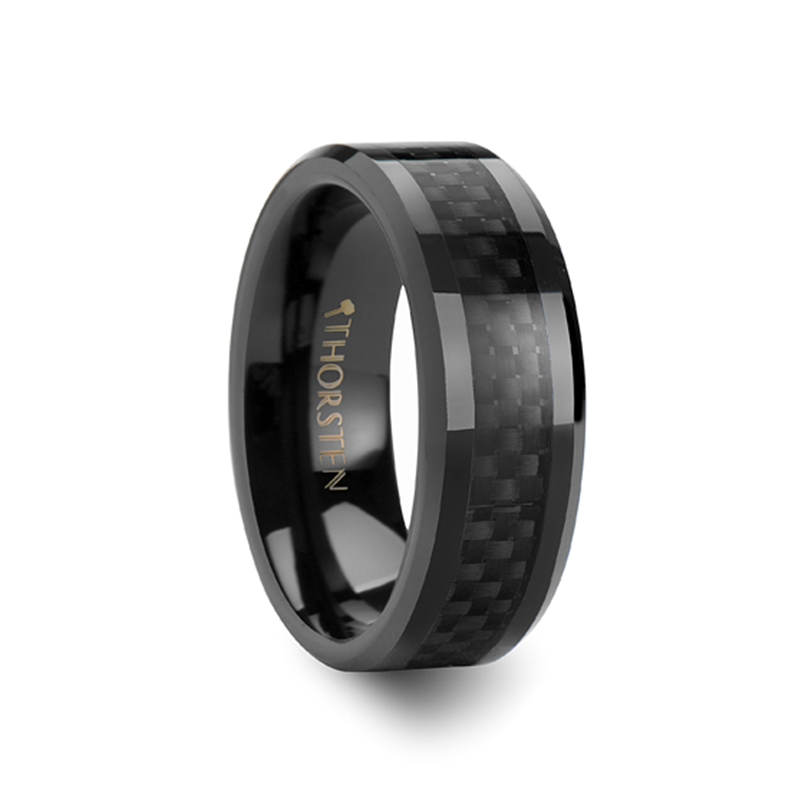 ONYX Black Carbon Fiber Inlaid Black Ceramic Wedding Band - 8mm