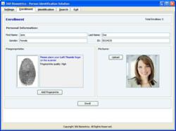 An enrollment screen from the PersonID fingerprint identification software from 360 Biometrics.