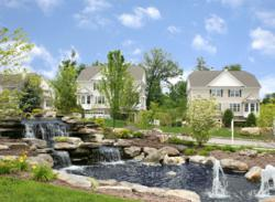 A waterfall is one of many landscaping features of The Fairways at Wallkill, home and townhouse community in Orange County, NY
