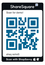 Co-branded QR code from ShopSavvy and ShareSquare