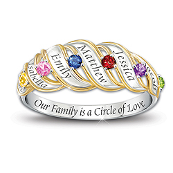 family engraved birthstone ring