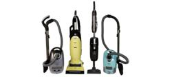 Group shot of Miele upright and canister vacuum models