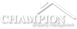 champion property management logo white grayscale