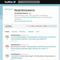 NutriAnswers Twitter Page