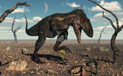 Tyrannosaurus Rex crushes flower