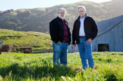 Filmmaker George Lucas (left) and MALT Executive Director Robert Berner (right) at the Corda Ranch, the 67th family ranch protected from development by a MALT conservation easement. (Photo by Paige Green)