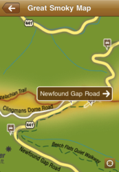 Interactive map on the Chimani Great Smoky Mountains National Park app